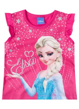 Blusa Infantil Elsa Disney Frozen - Rosa - Brandili