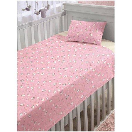 Jogo de Cama - Estampa Rosa do Unicórnio - Bebê - 3 Peças