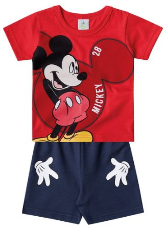 Conjunto de Camiseta e Bermuda - Mickey - Vermelho e Azul Marinho - Brandili