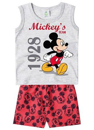 Conjunto de Regata e Bermuda - Mickey - Disney Baby - Cinza e Vermelho - Brandili