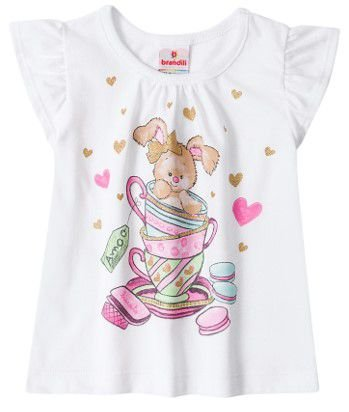 Blusa Manga Curta Bebê Coelhinho Branca - Brandili