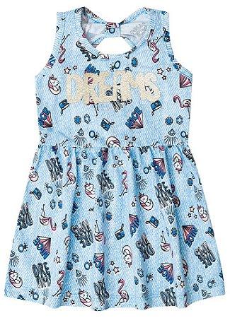 Vestido Unicórnio Dream - Azul Claro