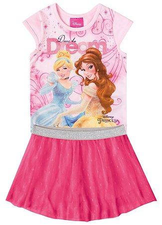 Conjunto de Blusa e Saia Princesas da Disney - Rosa Claro