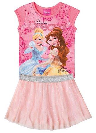 Conjunto de Blusa e Saia Princesas da Disney - Coral e Rosa Claro - Brandili