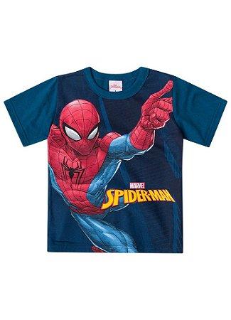 Camiseta Infantil Homem Aranha Marvel - Azul Petróleo - Brandili