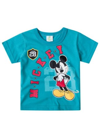 Camiseta do Mickey - Azul Turquesa - Disney Baby - Brandili