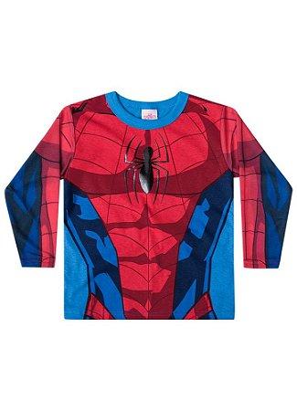 Camiseta do Homem Aranha - Gola Azul - Brandili