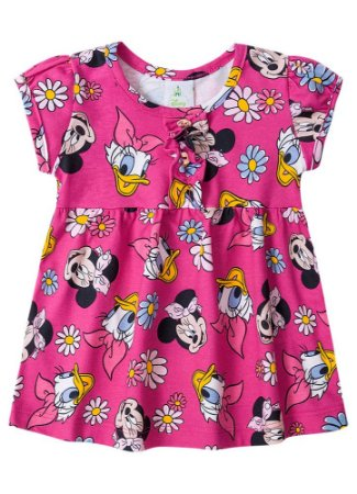 Vestido Minnie e Margarida - Rosa