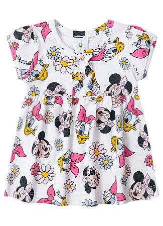 Vestido Minnie e Margarida - Branco