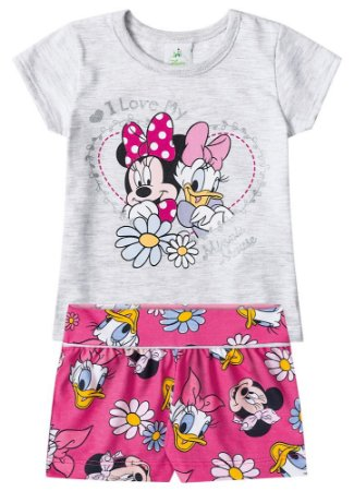 Conjunto de Blusa e Shorts - Minnie e Margarida - Cinza