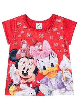 Blusa Baby da Minnie e Margarida - Disney -Vermelha - Brandili