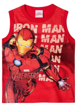 Camiseta Homem de Ferro Regata - Avengers - Vermelha - Brandili