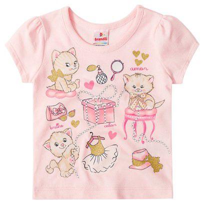 Blusa Bebê Menina Gatinhos Rosa Claro - Brandili