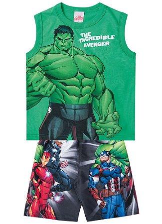 Conjunto de Regata e Bermuda - Hulk - Avengers