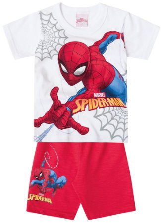Conjunto de Camiseta e Bermuda - Homem Aranha - Brilha no Escuro