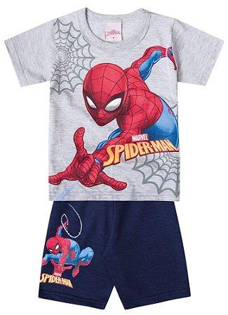 Conjunto de Camiseta e Bermuda - Homem Aranha - Brilha no Escuro - Cinza e Azul - Brandili