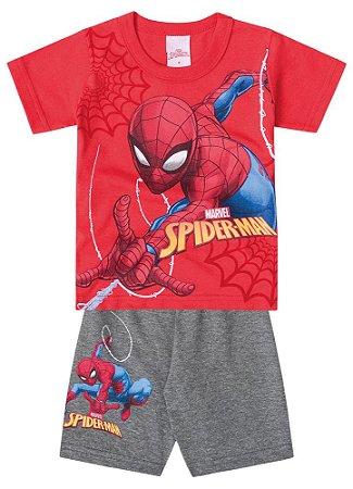 Conjunto de Camiseta e Bermuda - Homem Aranha - Brilha no Escuro - Vermelho e Cinza - Brandili