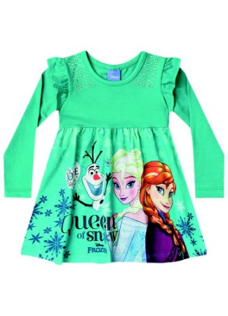 Vestido Elsa, Anna e Olaf - Disney Frozen - Verde - Brandili