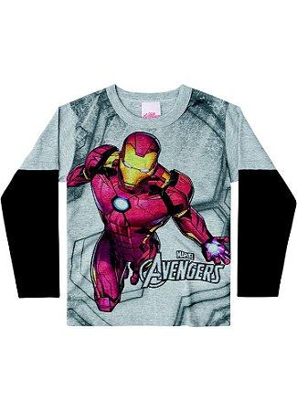 Camiseta do Homem de Ferro - Brilha no Escuro - Cinza Mescla