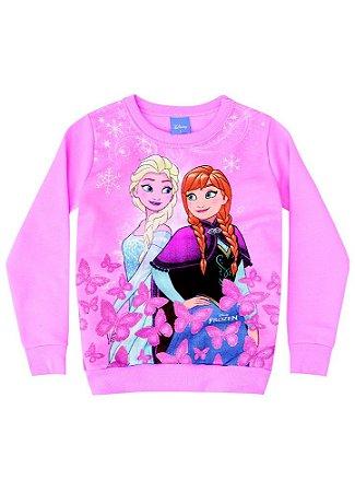 Moletom Felpado Elsa e Anna - Disney Frozen - Rosa