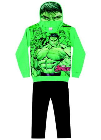 Conjunto de Moletom - Avengers - Hulk - Preto e Verde - Brandili