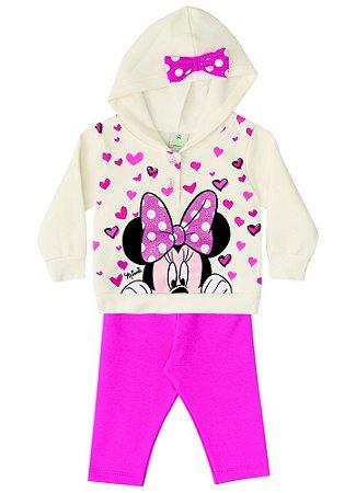 Conjunto de Blusa de Moletom e Legging da Minnie - Off-White e Rosa - Baby - Brandili