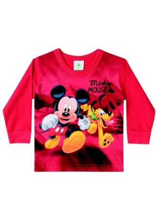 Camiseta Baby do Mickey e Pluto - Vermelha
