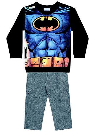 Conjunto de Moletom - Blusa Músculos e Calça - Batman - Cinza e Preto - Brandili