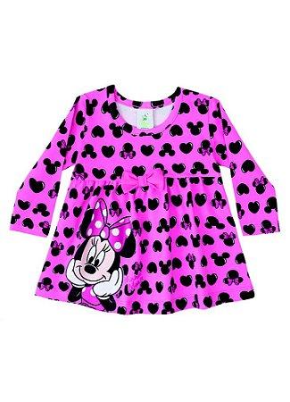 Vestido da Minnie - Corações - Disney Baby - Pink