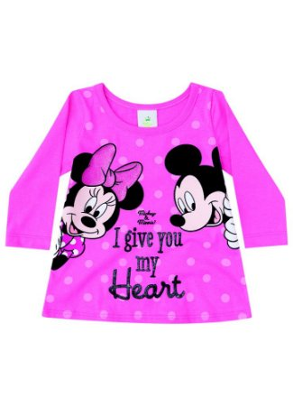 Blusa da Minnie e Mickey - Disney Baby - Rosa - Brandili