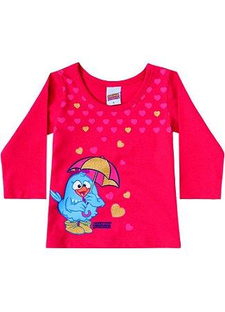 Blusa Baby da Galinha Pintadinha e Corações - Vermelha