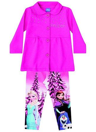 Conjunto Casaco Moletom e Legging Estampada - Disney Frozen - Rosa - Brandili