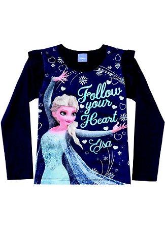 Blusa da Elsa - Disney Frozen - Azul Marinho - Brandili