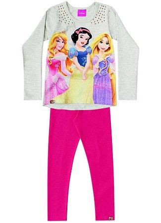 Conjunto de Blusa e Legging - Princesas da Disney - Cinza Mescla