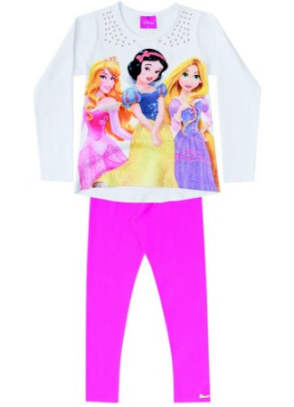 Conjunto de Blusa e Legging - Princesas da Disney - Branco