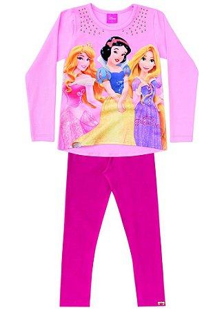 Conjunto de Blusa e Legging - Princesas da Disney - Rosa