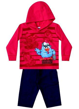 Conjunto Blusa e Calça de Moletom - Galinha Pintadinha - Vermelho