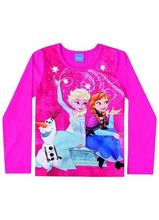Blusa da Elsa e Anna - Disney Frozen - Rosa Pink - Brandili