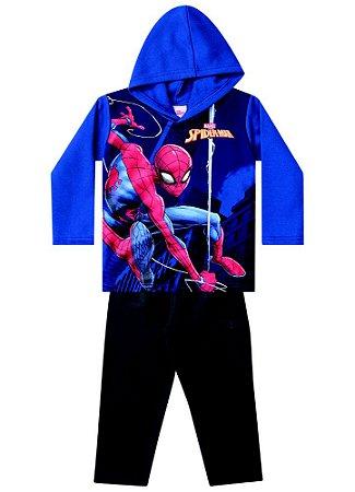 Conjunto de Blusa e Calça de Moletom - Homem Aranha na Teia - Azul e Cinza Chumbo - Brandili