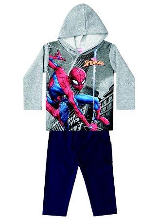 Conjunto de Blusa e Calça de Moletom - Homem Aranha na Teia - Cinza e Azul Marinho - Brandilii