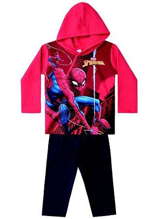 Conjunto de Blusa e Calça de Moletom - Homem Aranha na Teia - Vermelha e Preta - Brandili