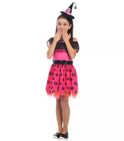 Fantasia Infantil da Bruxa com Chapéu - Barbie - Rosa - Sula