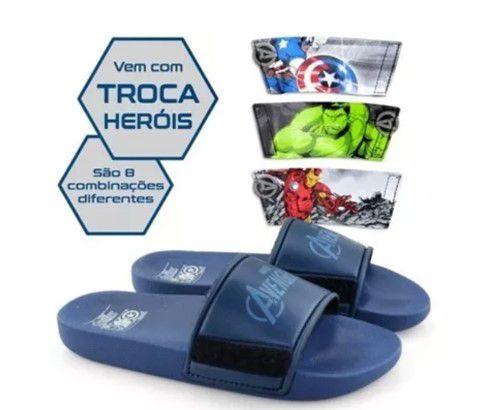 Chinelo Avengers - Troca Tira Heróis - Azul