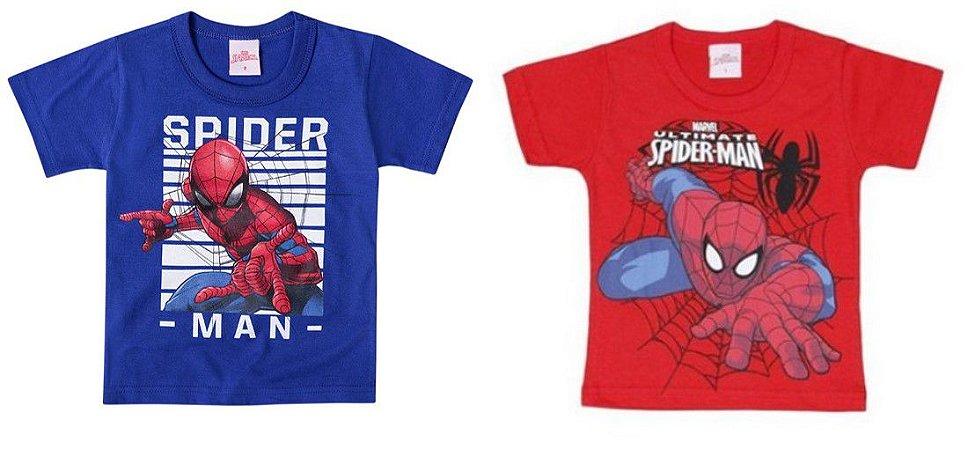 Combo Homem Aranha - 2 Camisetas por 48,90 - Brilha no Escuro - Vermelho e Azul - Brandili