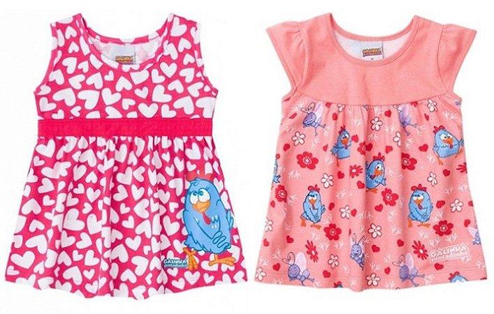 Combo Baby Galinha Pintadinha - 2 vestidos - Rosa e Coral - Brandili