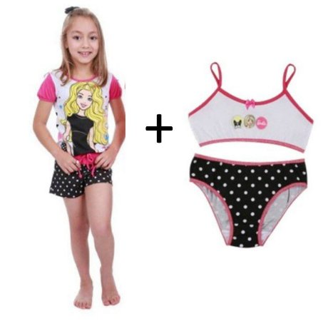 COMBO SHORT DOLL POÁ + CALCINHA + TOP - BARBIE  - POR 62,90