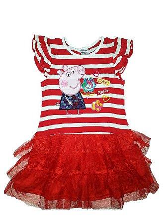 b8b698992 Vestido da Peppa Pig - Manga Curta - Tule Vermelho - AmoPersonagem