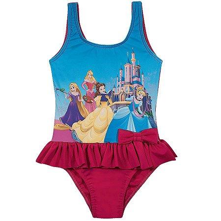 Maiô Infantil Princesas da Disney  - Rosa - Tiptop