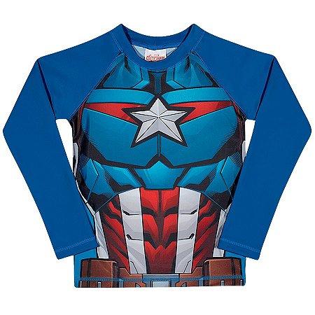 Camiseta Infantil Capitão América Proteção UV 50 FPS - Azul - Tiptop