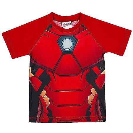 Camiseta Proteção UV 50 FPS  - Homem de Ferro - Avengers - Manga Curta